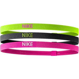 Nike Elastic Hairband 3 St. Geel/Zwart/Roze